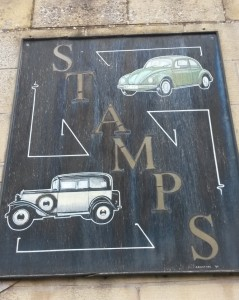 stamp shop sign